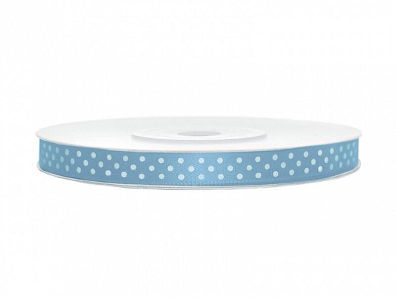 Satīna lente, 6mm/25m, gaiši zilā krāsa ar baltiem punktiņiem