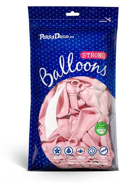 Balonu iepakojums, 100 gb., 30 cm, maigi rozā krāsa, pastelis