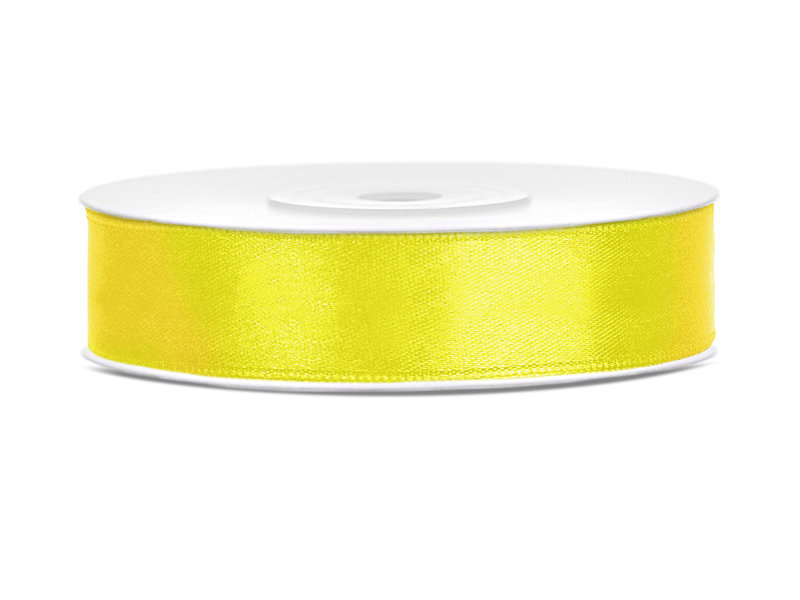 Satīna lente, 12mm/25m, dzeltenā krāsa