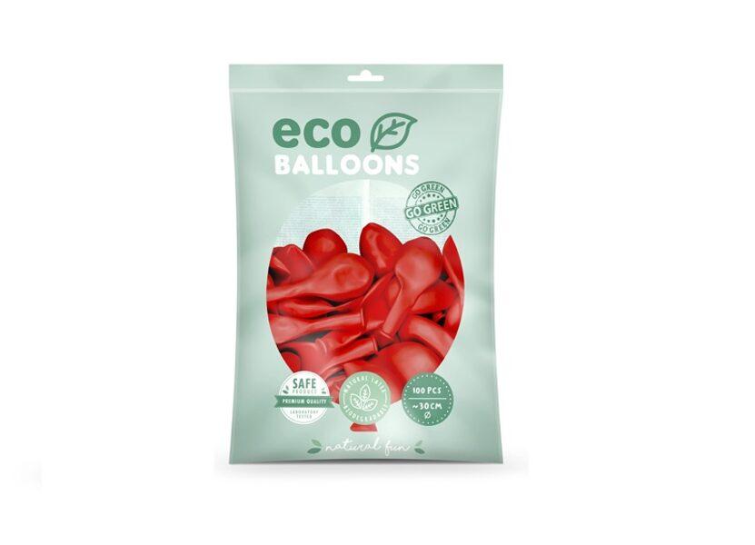 """Balonu iepakojums """"Eco"""", 100 gb., 30 cm,sarkanā  krāsa"""